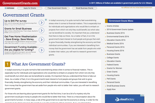 GovernmentGrants.com - Government Grants - Adam Sawicki Toronto Web Developer